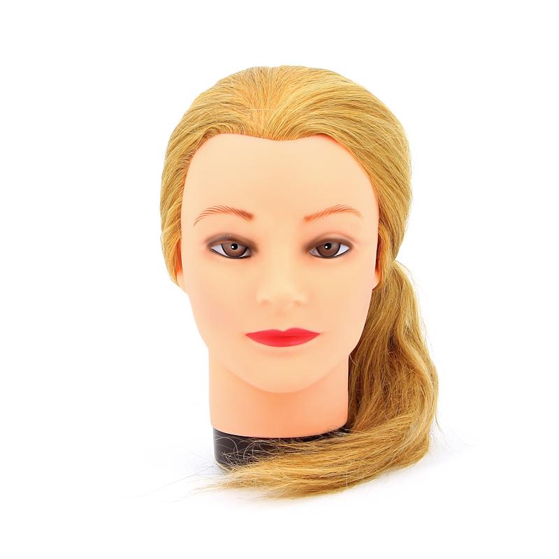 Тренировочная голова манекен из натуральных волос dewal